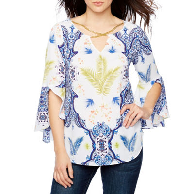 Bold Elements Cross Neck Bell Sleeve Top