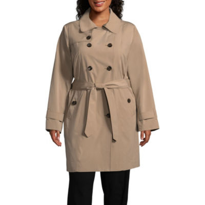 Liz Claiborne Woven Hooded Belted Lightweight Raincoat-Plus