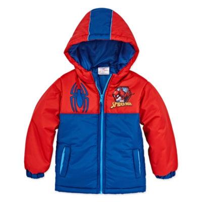 Outerwear - Boys Spiderman Heavyweight Puffer Jacket-Toddler