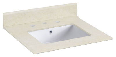 23.5-in. W 19.5-in. D Marble Top With Backsplash In Beige Color For 3H8-in. Faucet - White UM Sink