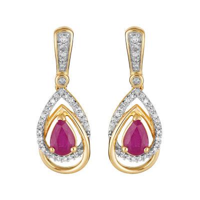 1/3 CT. T.W. Lead Glass-Filled Red Ruby 10K Gold Drop Earrings