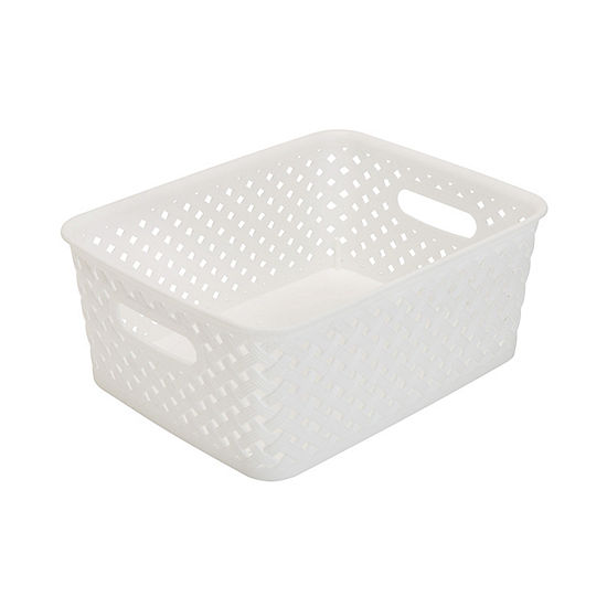 Resin Wicker Storage Tote - White Small 10X8X4- Basket Weave
