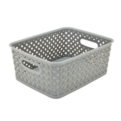 Resin Wicker Storage Tote - Grey Small 10X8X4-Basket Weave