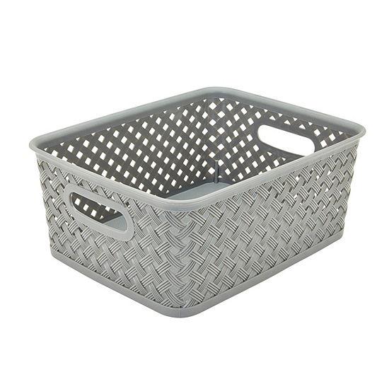 Resin Wicker Storage Tote - Grey Small 10X8X4-Basket Weave