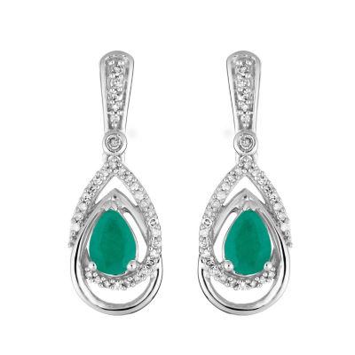 1/3 CT. T.W. Genuine Green Emerald 10K White Gold Drop Earrings