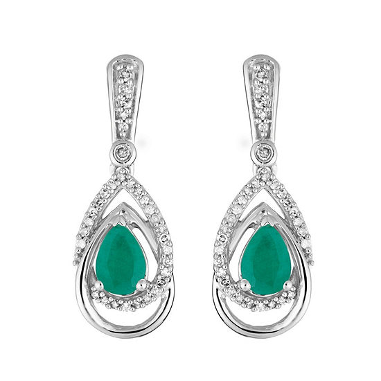 1/3 CT. T.W. Genuine Green Emerald 10K White Gold Drop Earrings