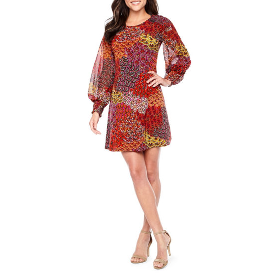 MSK Long Sheer Balloon Sleeve Shift Dress