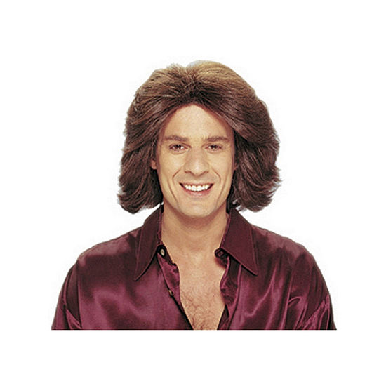 Feathered 70s Men'S Brown Wig