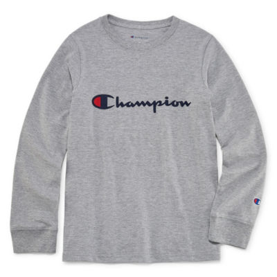 Champion Long Sleeve Crew Neck T-Shirt-Big Kid Boys