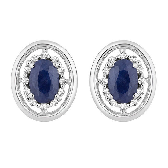1/8 CT. T.W. Genuine Blue Sapphire 10K White Gold 11.4mm Stud Earrings