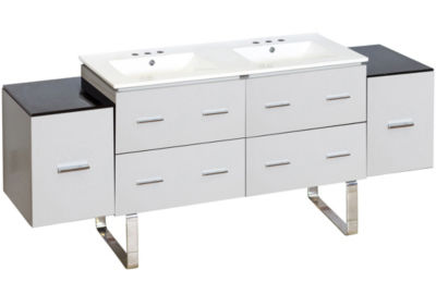 74-in. W Floor Mount White Vanity Set For 3H8-in.Drilling