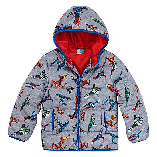 Outerwear - Boys Justice League Heavyweight Puffer Jacket-Big Kid