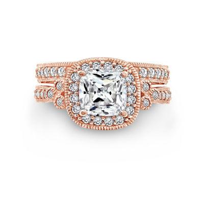 Diamonart Womens White Cubic Zirconia 14K Gold Over Silver 14k Rose Gold Over Brass Bridal Set