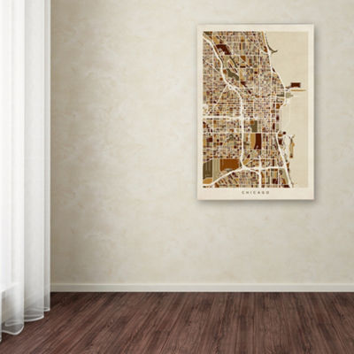 Trademark Fine Art Michael Tompsett Chicago City Street Map Giclee Canvas Art
