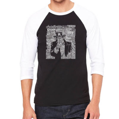 Los Angeles Pop Art Men's Big & Tall Raglan Baseball Word Art T-shirt - UNCLE SAM