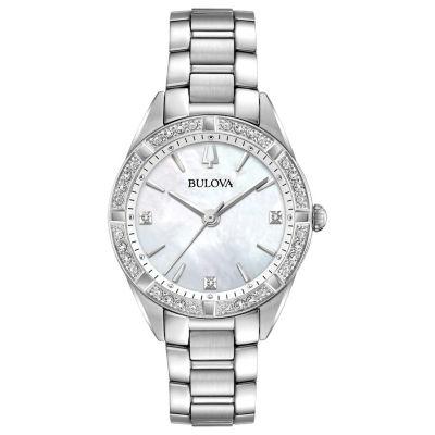 Bulova Womens Silver Tone Bracelet Watch-96r228