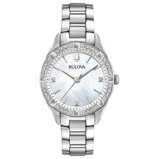 Bulova Sutton Womens Silver Tone Stainless Steel Bracelet Watch-96r228