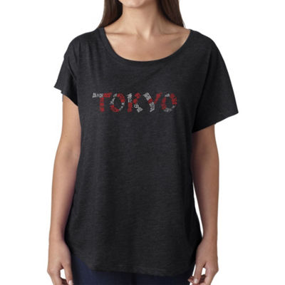 Los Angeles Pop Art Women's Loose Fit Dolman Cut Word Art Shirt - THE NEIGHBORHOODS OF TOKYO