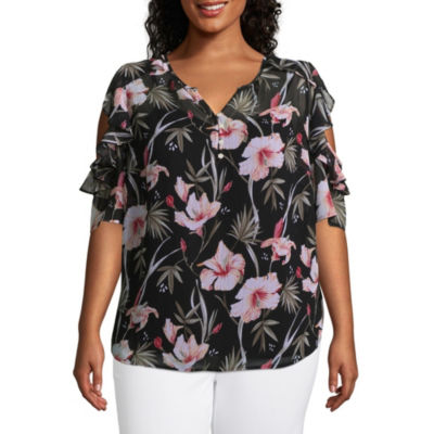 Liz Claiborne Cold Shoulder Ruffle Popover Top- Plus