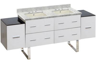 74-in. W Floor Mount White Vanity Set For 3H8-in.Drilling Bianca Carara Top Biscuit UM Sink