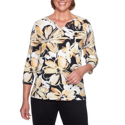 Alfred Dunner Travel Light 3/4 Sleeve Split Crew Neck T-Shirt-Womens