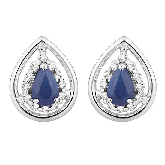 1/8 CT. T.W. Genuine Blue Sapphire 10K White Gold 12.6mm Stud Earrings
