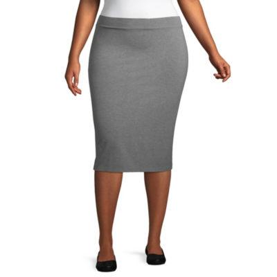 Liz Claiborne Studio Midi Skirt- Plus