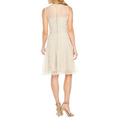 J Taylor Sleeveless Embroidered Tonal Fit & Flare Dress