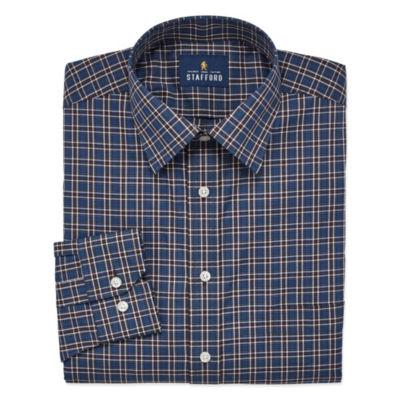 Stafford Travel Easy Care Stretch Broadcloth Long Sleeve Broadcloth Plaid Dress Shirt- Big And Tall
