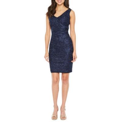 Blu Sage Sleeveless Embroidered Sheath Dress