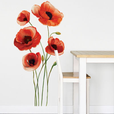 New View Red Flowers Wall Decal