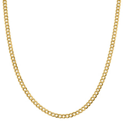 14K Gold Solid Curb 16 Inch Chain Necklace