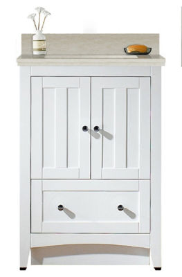 23.75-in. W Floor Mount White Vanity Set For 3H4-in. Drilling Beige Top Biscuit UM Sink