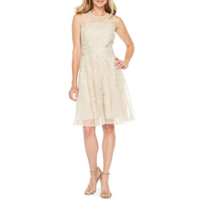 J Taylor Sleeveless Embroidered Fit & Flare Dress