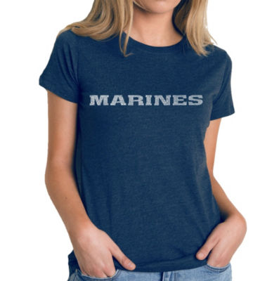 Los Angeles Pop Art Women's Premium Blend Word ArtT-shirt - LYRICS TO THE MARINES HYMN