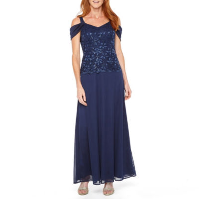 Onyx Nites Sleeveless Cold Shoulder Evening Gown