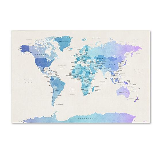 Trademark Fine Art Michael Tompsett Watercolour Political Map of the World Giclee Canvas Art