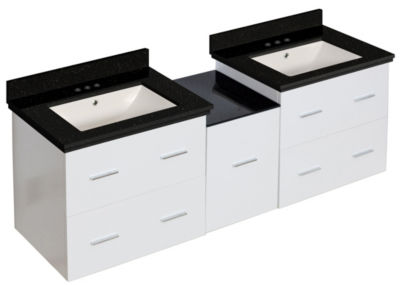 61.5-in. W Wall Mount White Vanity Set For 3H4-in.Drilling Black Galaxy Top Biscuit UM Sink