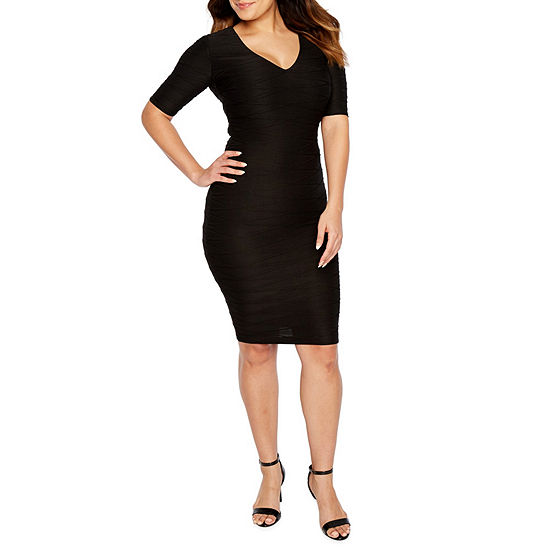 Premier Amour Short Sleeve Jacquard Sheath Dress