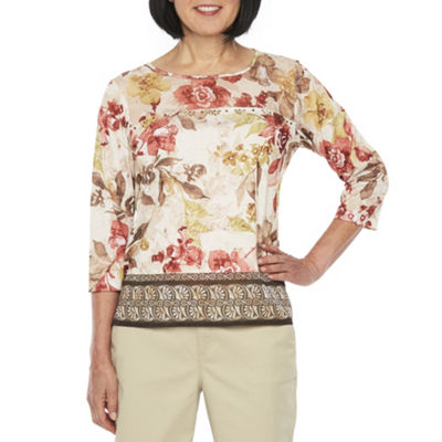 Alfred Dunner Sunset Canyon 3/4 Sleeve Crew Neck Floral T-Shirt-Womens Petite