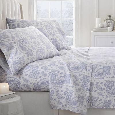 Casual Comfort Premium Paisley Pattern 4 Piece Flannel Bed Sheet Set
