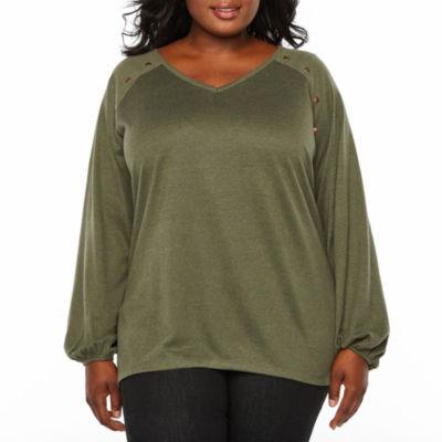 Boutique + Brushed Knit Studded Sweatshirt- Plus