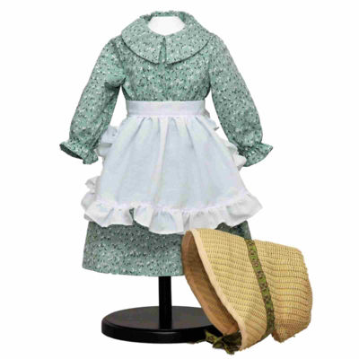 The Queen's Treasures Little House Green Calico Dress for 18 Inch Dolls