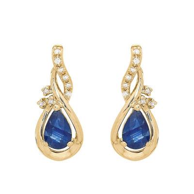 Genuine Blue Sapphire 10K Gold Drop Earrings