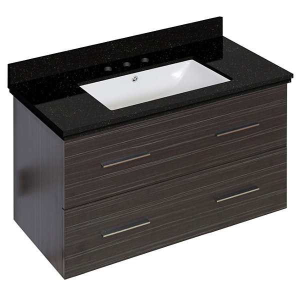36-in. W Wall Mount Dawn Grey Vanity Set For 3H8-in. Drilling Black Galaxy Top White UM Sink
