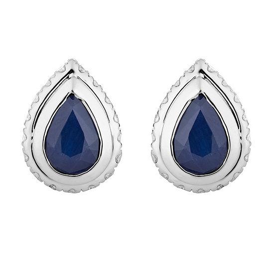 1/5 CT. T.W. Genuine Blue Sapphire 10K White Gold 9.3mm Stud Earrings