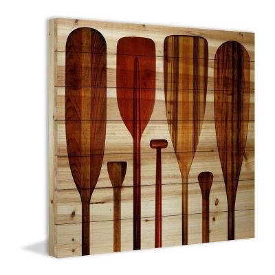 Paddles Painting Print on Natural Pine Wood