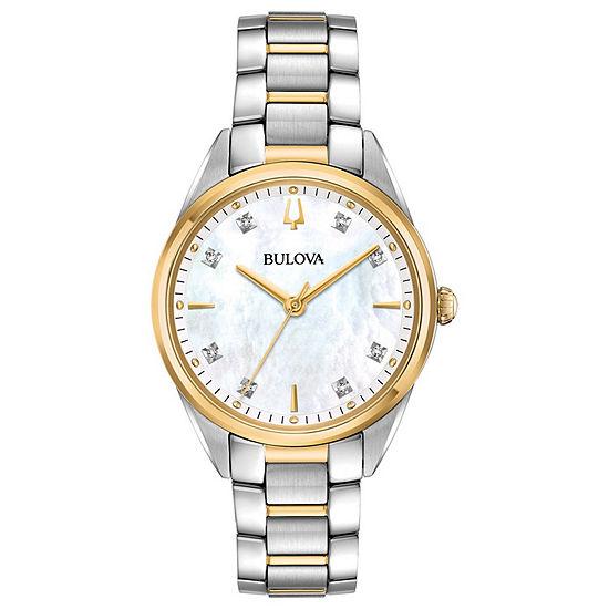 Bulova Sutton Womens Two Tone Stainless Steel Bracelet Watch-98p184