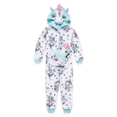 Jammers Kids Girls Polar Fleece One Piece Pajama Long Sleeve Hooded Neck