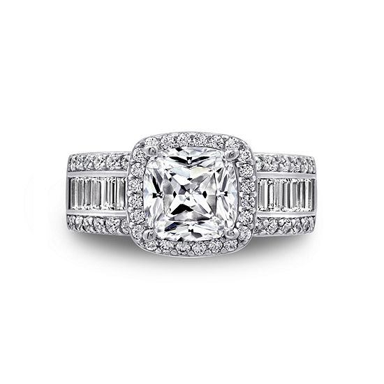 DiamonArt® Womens White Cubic Zirconia Sterling Silver Engagement Ring